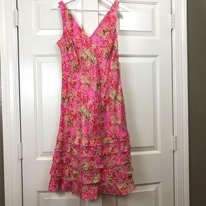 Ann Taylor Pink floral dress w/ ruffles